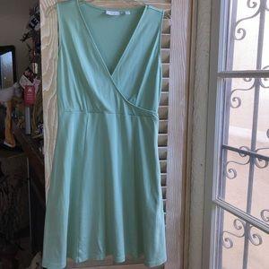 Mint green, v neck, sleeveless dress